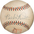 Baseball Collectibles:Balls, 1928 Babe Ruth & Lou Gehrig Dual-Signed Baseball with TwoSigned Scorecards.. ...
