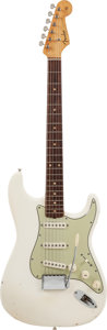 Musical Instruments:Electric Guitars, 1963 Fender Stratocaster Olympic White Solid Body Electric Guitar,#90874....