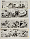 Frank Robbins Johnny Hazard Daily Comic Strip Original Art Group of 4 (King Feat Comic Art