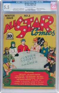 All Star Comics #3 (DC, 1940) CGC FN- 5.5 Cream to off-white pages