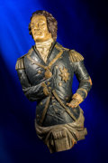 Decorative Arts, British:Other , An English Carved and Polychromed Wood Ship's Figurehead:Admiral Lord Nelson, mid-19th century. 47 inches (119.4cm...