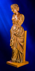 Decorative Arts, Continental:Other , An English Carved Wood Ship's Figurehead: Classical Maiden,late 18th century. 52 inches high (132.1 cm) (figur...