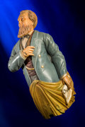 Decorative Arts, British:Other , An American or English Carved and Polychromed Wood Ship'sFigurehead: Statesman, mid-19th century. 43 inches high(1...