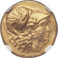 Ancients:Greek, Ancients: MACEDONIAN KINGDOM. Alexander III the Great (336-323 BC).AV stater (18mm, 8.67 gm, 6h). NGC AU 5/5 - 2/5, edge marks,scratch...
