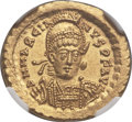 Ancients:Roman Imperial, Ancients: Marcian, Eastern Roman Emperor (AD 450-457). AV solidus(20mm, 4.48 gm. 6h). NGC Choice MS 5/5 - 5/5....