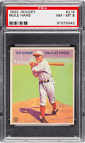 Baseball Cards:Singles (1930-1939), 1933 Goudey Mule Haas #219 PSA NM-MT 8 - None Higher....