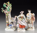 Ceramics & Porcelain, Three Meissen Porcelain Figures: Apple Pickers, Spring Gardeners, late 19th-early 20th century. Marks: (crossed swor... (Total: 3 Items)