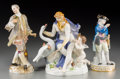 Ceramics & Porcelain, Continental:Other , Three Meissen Porcelain Figures, late 19th-early 20th century.Marks: (crossed swords in blue underglaze), (various). 7-1/4 ...(Total: 3 Items)