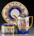 Ceramics & Porcelain, Continental:Other , A Three-Piece Dresden Partial Gilt Porcelain Coffee Pot, CoveredBox, and Plate, early 20th century. Marks: (pseudo marks fo...(Total: 5 Items)