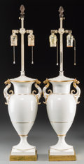 Decorative Arts, Continental:Lamps & Lighting, A Pair of KPM-Style Partial Gilt Porcelain Vases Mounted as Lamps.30-1/2 inches high (77.5 cm) (overall). ... (Total: 2 Items)