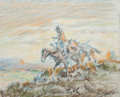 Fine Art - Work on Paper:Drawing, Fred Harman (American, 1902-1982). The Journey. Coloredpencil on paper. 6-3/4 x 8 inches (17.1 x 20.3 cm) (sight). Sign...