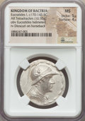Ancients:Greek, Ancients: BACTRIAN KINGDOM. Eucratides I Megas (ca. 170-145 BC). ARtetradrachm (16.95 gm). NGC MS 5/5 - 4/5....