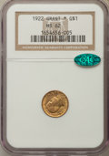 Commemorative Gold, 1922 G$1 Grant Gold Dollar, With Star, MS62 NGC. CAC. NGC Census:(52/1201). PCGS Population: (54/2271). Mintage 5,016. ...