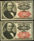 Fractional Currency:Fifth Issue, Fr. 1309 25¢ Fifth Issue Two Examples Extremely Fine.. ... (Total:2 notes)