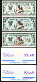 Miscellaneous:Other, Disney $1 Dollars 1987; 1989; 1991 Rodgers R-005; R-013; R-021..... (Total: 5 items)