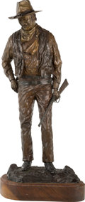 Fine Art - Sculpture, American:Contemporary (1950 to present), David Manuel (American, b. 1940). John Wayne, American,1979. Bronze with brown patina. 28-1/2 inches (72.4 cm) high on ...