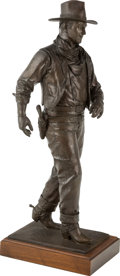 Fine Art - Sculpture, American:Contemporary (1950 to present), Robert Summers (American, b. 1940). John Wayne, AmericanLegend, 1975. Bronze with brown patina. 25 inches (63.5 cm)hig...