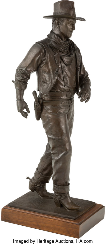 Robert Summers (American, b. 1940) John Wayne, American Legend, 1975 Bronze with brown patina 25 inches (63.5 cm) hig...