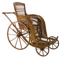 Furniture , A Victorian Caned Wicker Bath Chair, late 19th century. 46-1/2 h x 27-1/2 w x 56 d inches (118.1 x 69.9 x 142.2 cm). Prope...