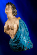 Decorative Arts, British:Other , A English Carved and Polychromed Wood Ship's Figurehead:Semi-Nude Classical Woman, late 19th century. 50-3/4 in...