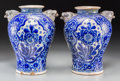 Ceramics & Porcelain, A Pair of French Faience Vases with Figural Lion Handles, 19th century. 15 inches high (38.1 cm). ... (Total: 2 Items)