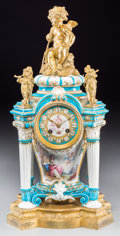 Decorative Arts, French:Other , A French Sevres-Style Jeweled Porcelain and Gilt Bronze Clock, 19thcentury. Marks to movement: Japy Fils 1855 Medailles 1...