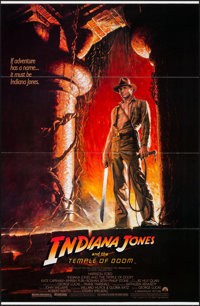 """Indiana Jones and the Temple of Doom (Paramount, 1984). Flat Folded One Sheet (27"""" X 41""""). Adventure"""
