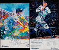 Baseball Collectibles:Others, 1990's Baseball Prints Signed by LeRoy Neiman Lot of 5....
