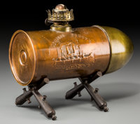 A Copper, Brass and Iron Artillery Shell-Form Admiral Dewey Patriotic Oil Lamp, early 20th century 7 h x 8-3/4 w x