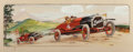 Fine Art - Work on Paper:Watercolor, French School (20th Century). 1914 Countryside AutomobileRace. Watercolor on paper. 9-1/8 x 27-1/2 inches (23.2 x 69.9...