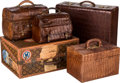Decorative Arts, Continental:Other , Five Various Leather Suitcases and Bags, early 20th century andlater. 16-3/4 h x 21-3/4 w x 9-3/4 d inches (42.5 x 55.2 x 2...(Total: 5 Items)