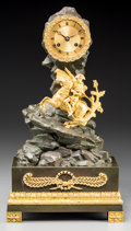 Timepieces:Clocks, A French Second Empire Gilt and Patinated Bronze Figural Napoleon Clock, after Jacques-Louis David, circa 1830. 16-1/4 h x 9...