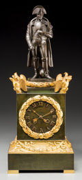 Clocks & Mechanical:Clocks, A French Second Empire Gilt and Patinated Bronze Figural Napoleon Clock, circa 1830. 21 h x 8-1/2 w x 5-3/4 d inches (53.3 x...