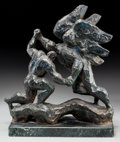 Sculpture, Nathan Rapoport (American, 1911-1987). Jacob Wrestling the Angel, 1966. Bronze with dark blue patina. 12-1/2 x 1 inches ...