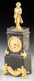 Decorative Arts, French:Other , A French Second Empire Gilt and Patinated Bronze Figural NapoleonClock, circa 1830. 8-5/8 h x 3-3/8 w x 2 d inches (21.9 x ...