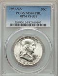 1951-S/S 50C Repunched Mintmark, FS-501 MS64 Full Bell Lines PCGS. PCGS Population: (4/6). NGC Census: (0/0)....(PCGS# 5...