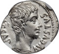 Ancients:Roman Imperial, Ancients: Augustus (27 BC-AD 14). AR denarius (19mm, 3.86 gm, 6h). NGC Choice AU 4/5 - 4/5....