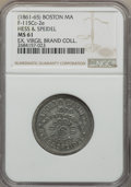 Civil War Merchants, (1861-65) MS Hess & Speidel Token, Boston, MA, Miller-Mass-5,Fuld-MA-115Cc-2e, MS61 NGC. White metal, 27 mm, plain edge. A...