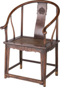 Furniture , A Chinese Hongmu Horseshoe-Back Armchair, Qing Dynasty, 19th century . 40-1/2 h x 26-3/4 w x 21-1/2 d inches (102.9 x 67.9 x...