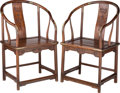 Furniture , A Pair of Chinese Horseshoe-Back Armchairs, Qing Dynasty, early 19th century. 39-3/8 h x 25-3/4 w x 18 d inches (100.0 x 65.... (Total: 2 Items)