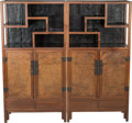 Asian:Chinese, A Pair of Chinese Hardwood and Burlwood Display Cabinets, QingDynasty, 18th century. 66-1/8 h x 34 w x 16 d inches (168.0 x...(Total: 2 Items)
