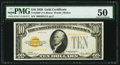 Small Size:Gold Certificates, Fr. 2400* $10 1928 Gold Certificate. PMG About Uncirculated 50.. ...
