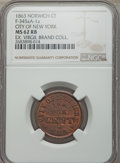 Civil War Merchants, 1863 MS City of New York Token, Norwich, CT, Fuld-CT-345aA-1a, MS62Red and Brown NGC. Much red luster remains amid burgund...