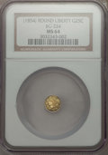 California Fractional Gold , Undated 25C Liberty Round 25 Cents, BG-224, R.3, MS64 NGC. NGCCensus: (13/0). PCGS Population: (27/1). ...