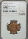 Civil War Merchants, 1863 MS T. Brimelow, Druggist Token, New York, NY, Baker-520,Fuld-NY-630K-2a, Miller NY-120, Musante GW-664, MS63 Red and Br...