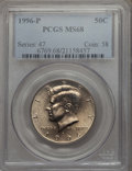 Kennedy Half Dollars, 1996-P 50C MS68 PCGS. PCGS Population: (60/0). NGC Census: (11/1)....