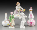 Ceramics & Porcelain, Continental:Other , Five Meissen, KPM, and Dresden Porcelain Cabinet Miniatures, late19th-early 20th century. Marks: (various). 4-1/8 inches hi...(Total: 5 Items)