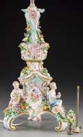 Ceramics & Porcelain, Continental:Other , A Dresden Porcelain Candlestick Mounted as a Lamp, early 20thcentury and later. 26-3/8 inches high (67.0 cm) (to sockets). ...