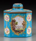 Ceramics & Porcelain, Continental:Other , A Sevres-Style Enameled Copper Tea Caddy, 19th century. 5 h x 4-1/4w x 2-5/8 d inches (12.7 x 10.8 x 6.7 cm). ...