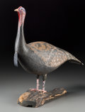 General Americana: , A Folk Art Painted Wooden Figure of a Wild Turkey, 20th century.Marks: KEITH COLLIS. 21-1/2 h x 18-1/2 w x 7-1/8 d inch...